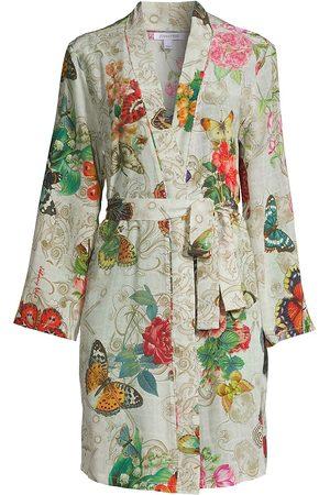 JOHNNY WAS Women Bathrobes - Women's Evelyn Floral Silk Robe - Size XS