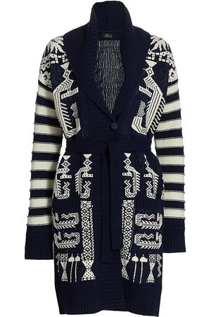 Etro Women Cardigans - Women's Knit Embroidered Long Belted Cardigan - - Size 10