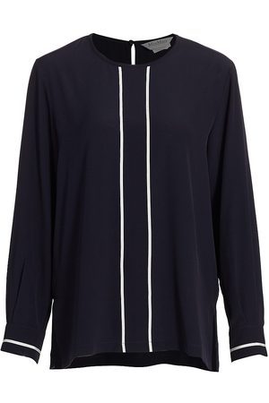 Max Mara Women Blouses - Women's Filovia Piped Silk Blouse - Ultramarine - Size 12