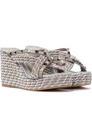 VALENTINO GARAVANI Rockstud Torchon leather espadrille sandals