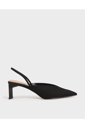 CHARLES & KEITH Textured Blade Heel Slingback Pumps