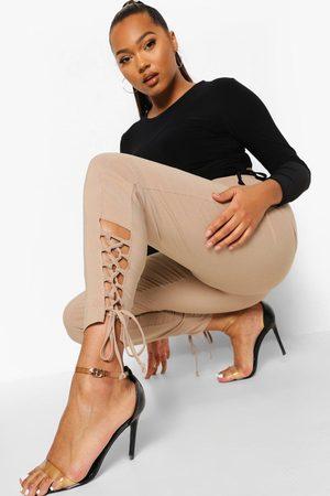 Boohoo Womens Plus Stretch Lace Up Hem Skinny Pants - - 12