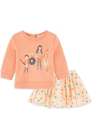 Peek Kids Girls' Band Graphic Top & Heart Embroidered Skirt Set - Baby