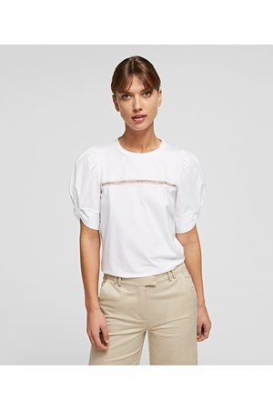 Karl Lagerfeld PUFF-SLEEVE TOP WITH KARL LOGO EMBROIDERY