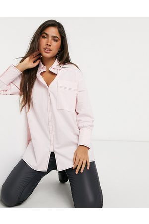 Lost Ink Oversized longline shirt with contrast stich