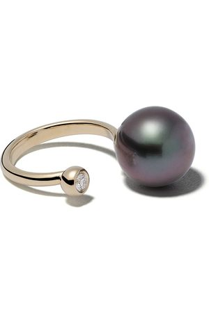 Mizuki Women Rings - 14kt yellow black Tahitian pearl and diamond ring