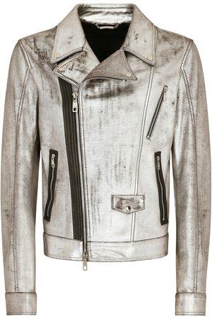 Dolce & Gabbana Men Leather Jackets - Metallic biker jacket - Grey