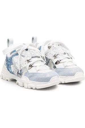 MONNALISA Glitter-detailed appliqué chunky sneakers