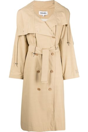 Kenzo Double-breasted belted trench coat - Neutrals