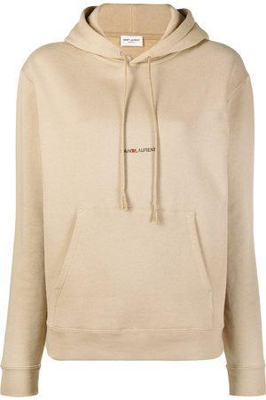 Saint Laurent Logo print drawstring hoodie - Neutrals