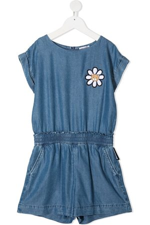 Moschino Girls Playsuits - Floral-embroidery denim playsuit