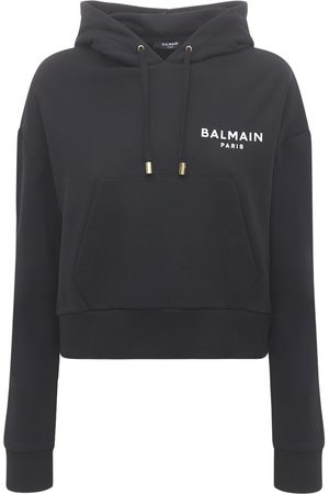 Balmain Cropped Cotton Hoodie W/ Flocked Logo