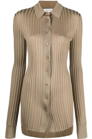 Bottega Veneta Women Shirts - Ribbed-knit silk shirt - Neutrals