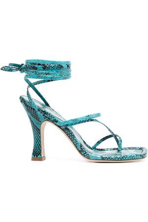 PARIS TEXAS Snakeskin-effect strappy sandals - TURCHESE