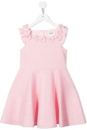 David Charles Girls Printed Dresses - Floral-apliquée sleeveless mini dress