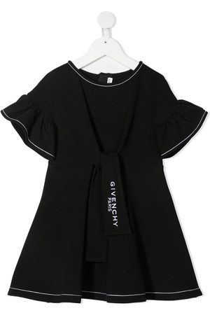 Givenchy Girls Casual Dresses - Embroidered logo ruffled dress