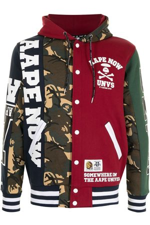 AAPE BY A BATHING APE Men Bomber Jackets - Hooded patchwork bomber jacket