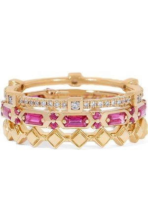 ANNOUSHKA Women Rings - 18kt yellow gold diamond sapphire baguette stack ring