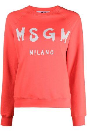 Msgm Women Sweatshirts - Paint brush logo sweatshirt