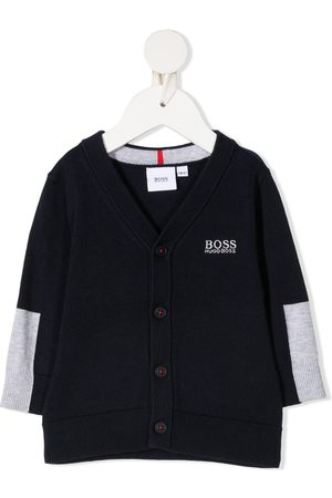HUGO BOSS Logo-print two-tone cardigan