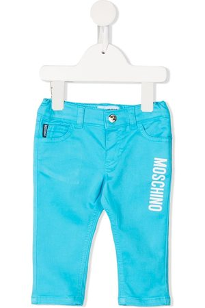 Moschino Logo-print slim-cut trousers