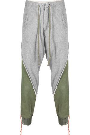 GREG LAUREN Panelled cotton track pants - Grey