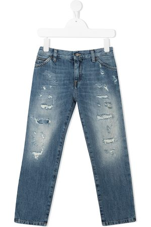 Dolce & Gabbana Girls Slim - Distressed-effect slim jeans