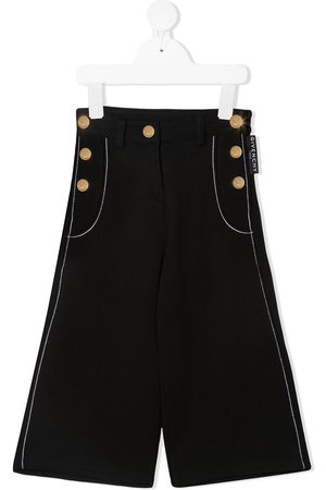 Givenchy Girls Wide Leg Pants - Decorative-buttons wide-leg trousers