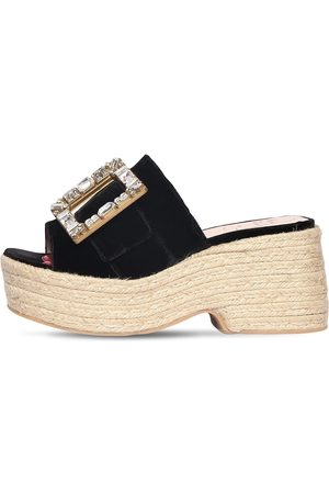 Roger Vivier 85mm Embellished Velvet Espadrille Wedge