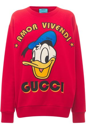 Gucci Women Sweatshirts - Cotton Jersey Sweatshirt W/ Donald Print