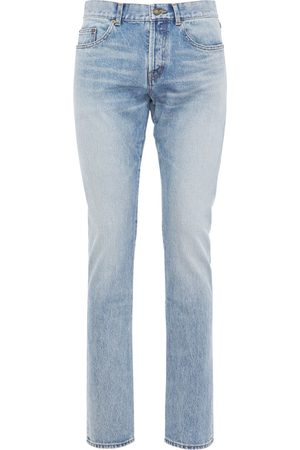 Saint Laurent 17cm Logo Slim Fit Cotton Denim Jeans