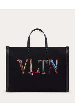VALENTINO GARAVANI Large Vltn Graph Canvas Tote Bag Man Cotton 63%, Linen 37% OneSize