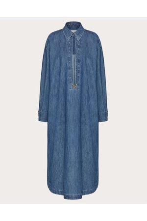 VALENTINO Vgold Denim Chambray Long Kaftan Women Navy Cotton 100% 38