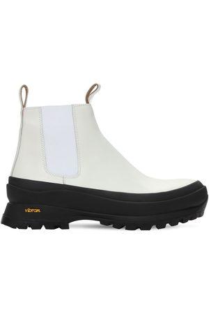 Jil Sander 40mm Brushed Leather & Neoprene Boots