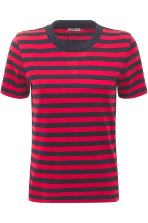 Moncler Women T-shirts - Logo Striped Cotton Jersey T-shirt