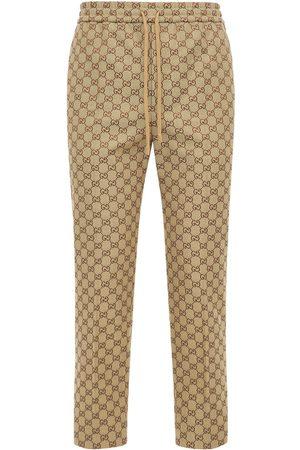 Gucci Men Pants - Gg Cotton Blend Canvas Jogging Pants