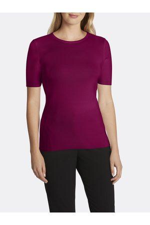 Tahari ASL Women Sweaters - Ribbed Short Sleeve Sweater Dark Pomegranate Large