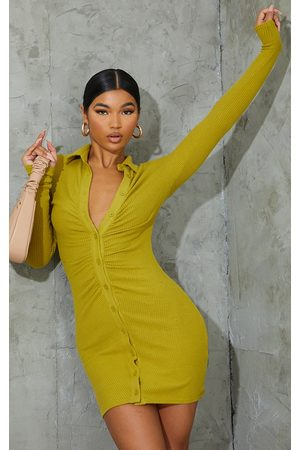 PRETTYLITTLETHING Chartreuse Brushed Rib Long Sleeve Ruched Shirt Dress