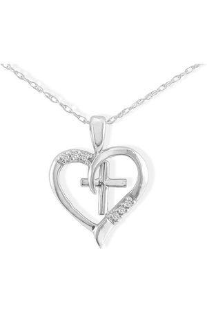 SuperJeweler 6 Diamond Heart & Cross Necklace in 1.4 Karat ™ (G-H Color