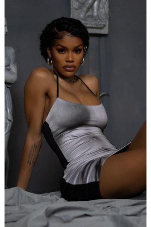 PRETTYLITTLETHING Women Bodycon Dresses - Grey 90s Body Print Bodycon Dress