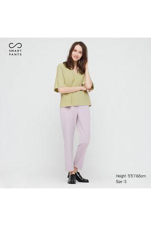 UNIQLO Women's Smart 2-Way Stretch Solid Ankle-Length Pants, Purple, XXS