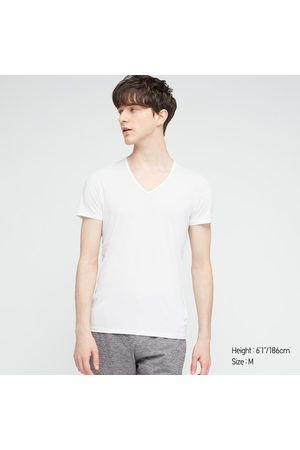 UNIQLO Men's Airism V-Neck Short-Sleeve T-Shirt, , XS