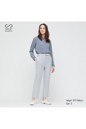 UNIQLO Women's Smart 2-Way Stretch Solid Ankle-Length Pants, Blue, XXS