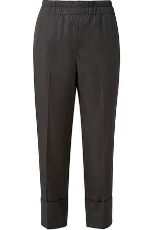 AKRIS Women Stretch Pants - Women's Farell Cropped Satin-Stretch Pants - Teak - Size 4