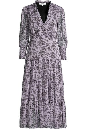 LIKELY Women Printed Dresses - Women's Hurley Smocked Floral Midi Dress - Violet Multi - Size 12