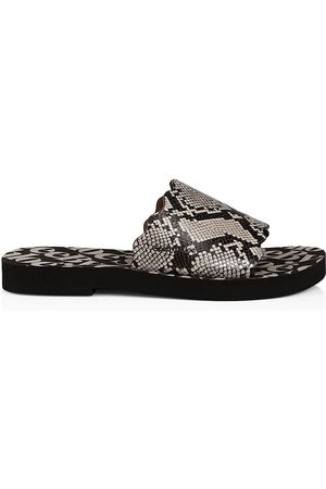 See by Chloé Women Sandals - Women's Essie Snakeskin-Embossed Leather Slides - Grey Phython - Size 10 Sandals