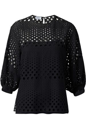 AKRIS Women Tops - Women's Eyelet Embroidered Puff-Sleeve Top - - Size 16