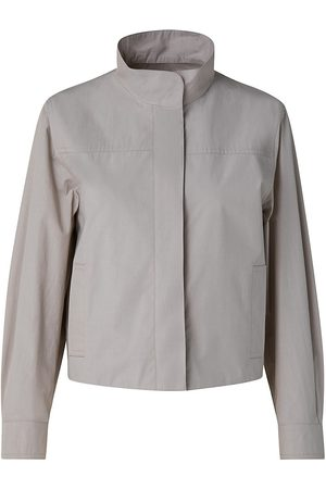 AKRIS Women Jackets - Women's Cropped Gabardine Boxy Jacket - Light Taupe - Size 12