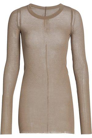 Rick Owens Women Long Sleeve - Women's Long-Sleeve Ribbed Stretch Silk T-Shirt - Dirt - Size 4