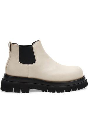 Bottega Veneta Men Chelsea Boots - Men's Platform Leather Chelsea Boots - Sea Salt - Size 12